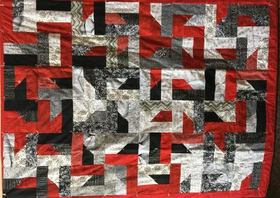 Susie Learing - Garvin, MN, Black & red all over, Tied, 60x78, black, red & white