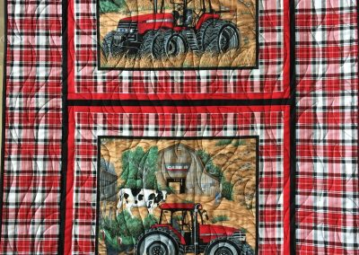 Kristy Henriksen - Pipestone, MN, A Case for Farming, Machine quilted, 27x43, red, white, black & plaid