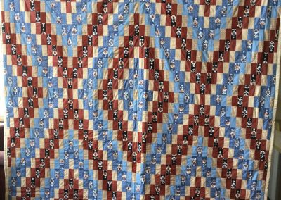 Trinity Quilters – Westbrook, MN, Dream Catchers Quilt, Pieced & tied, 100x101, Brown tones