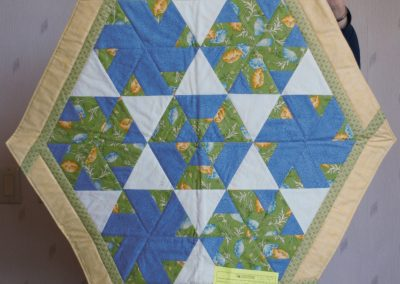 Shetek Camp Quilters – Diane, Holly, Linda & Pat - Sioux Falls SD Name – Hexagon 30'' Pieced and Machined Quilted Colors - Light Green, Blue and Yellow