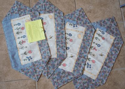 Shetek Camp Quilters – Diane, Holly, Linda & Pat - Sioux Falls SD Name – Plant the Seed 10 x 22 Pieced and Machine Quilted 4 placemats  Color- Country Blue