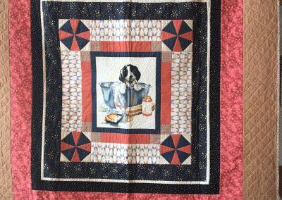 LaNan Eldridge- Paullina Iowa, Puppy bath, Pieced & machine quilted, 56x56 brown, blue & cream