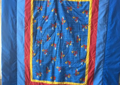 Our Saviors – Dovray MN, Puppy time, Pieced & tied, 67x70, Blue, red & yellow