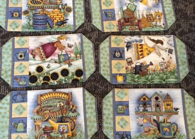 Diane, Holly, Linda & Pat – SF SD, 6 Placemats, Pieced & machine quilted, Country garden blues & greens
