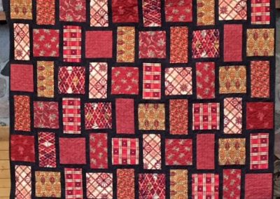 Diane, Holly, Linda & Pat – SF SD, Square Dance, Pieced & machine quilted, 60x80, reds & black