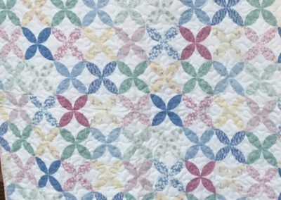 Diane, Holly, Linda & Pat – SF SD, Sweet Pastels, Pieced & machine quilted, 38x42, Pastel colors whole cloth
