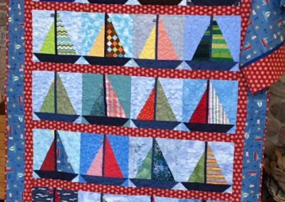 Diane, Holly, Linda & Pat – SF SD, Sail away, Pieced & machine quilted, 61x80, nautical quilt with matching pillow case