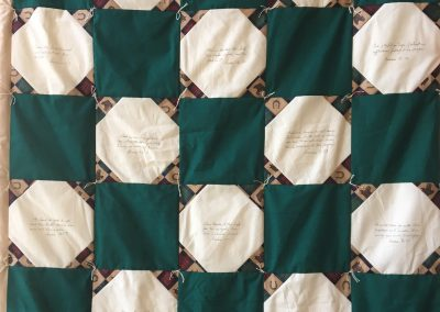 Lake Sarah quilters, Prayer quilt, Pieced & tied ,56x41 dark green & browns