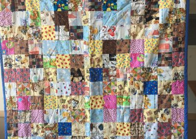 Our Saviors – Dovray MN, Grandmas Quilt, Pieced & tied, 67x70 multi colored