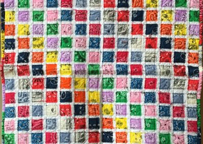 Susie Learing - Garvin MN  Name – YoYomama  Pieced and machine quilted  Colors - 11 different bandana colors