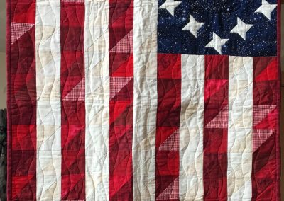 Grateful Shetek Quilters – Shetek Lutheran Name - Stars and Stripes 9x48 Pieced and Machine quilted Colors - red, white and blue