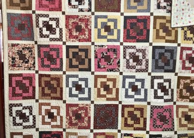 Broken Logs – 82x94- Pieced & Machine Quilted – Browns, Tans & Pinks    Made by Lois Ahlschlager - Balaton, MN