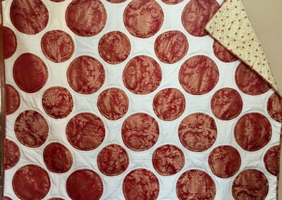 Copper Pennies -70x87-Appliqued & Machine Quilted – Red, Circles on White – Made by Lois Ahlschlager - Balaton, MN