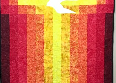 Pentecost – 40x69 – Pieced & Machine Quilted – Church Banner – Reds, Oranges, Yellows – Made by Marissa Kunde – Marshall, MN