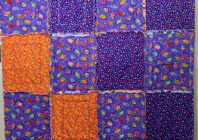 Myrtle Turtle -50x75 – Pieced & Machine quilted – Purple & Orange – with Matching Pillow - Made by Shetek Grateful Threads