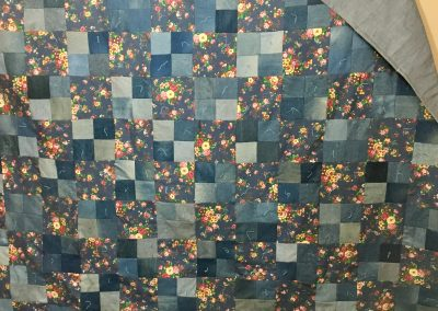 Basking in Denim Flowers – 86x90 – Pieced & Tied – Denim –Made by Lucille Magnus (In memory of Lee Ann Wenzel) Slayton, MN