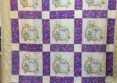 Kittens in a Basket of Flowers – 90x108 – Tied & Embroidered – Lavender & White – Made by Lucille Magnus – Slayton, MN