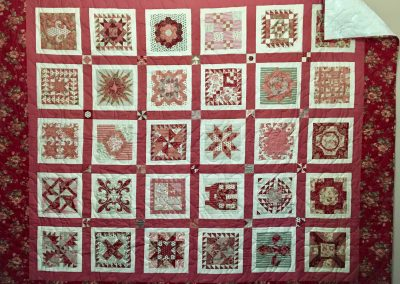 French General Sampler – 75x87 – Pieced & Machine Quilted – Reds, Tans, Rose, washable wool batting (gentle warm/cool wash- dry flat) – Made by Lynn Larson – Billings, MT