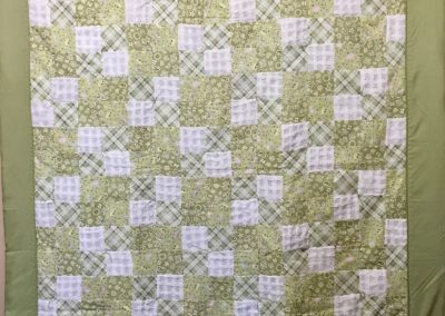 Green Acres – 55x79 – Tied – pathwork white, Chenille & green w/green back – Made by Our Savior's Lutheran quilters – Dovray, MN