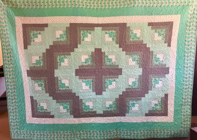 Sea Foam Log Cabin Magic – 81 ½ x108 ½ - Machine Quilted & Pieced – Sea foam Green w/matching pillow cases – Made by Shetek Grateful Threads – Slayton, MN