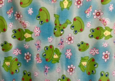 Frog Days – 36x60 – Pieced – Fleece throw, aqua & pink – Made by Janna Milbradt – Slayton, MN