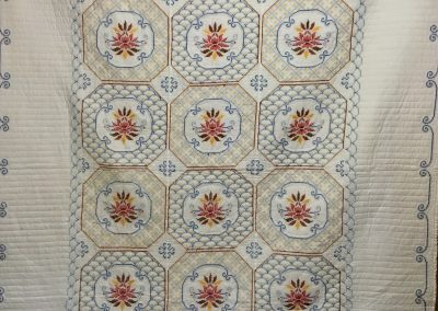 Cross Stitch Bouquet – 85x97 – Hand Quilted, Embroidered -  White – Made by Sheryl Kucker – Brandon, SD