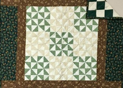 Acorns by the Bushel – 28'' Square – Machine quilted, Pieced -Browns/Greens -  Made by Sheryl Kucker – Brandon, SD
