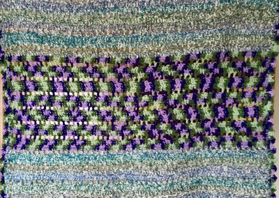 Lap Robe – 34x38 – Crochet – purple & greens- Made by Trinity Lutheran WELCA – Westbrook, MN