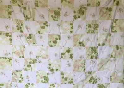 Spring Time – 60x80 – tied – Green/white w/pink ties – Made by Mazie Werner – Jackson, MN