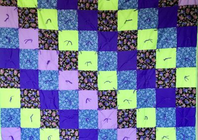 Purple Meadow – 60x80 – tied – purple/green – Made by Mazie Werner – Jackson, MN