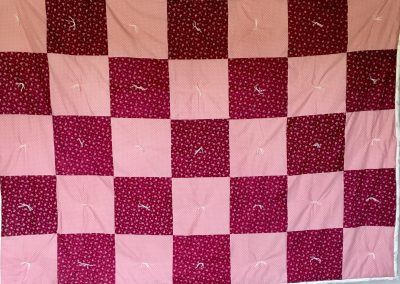 Flower Power – 60x83 – Pieced & tied –Pink/Maroon – Made by Peace Lutheran – Ruthton, MN