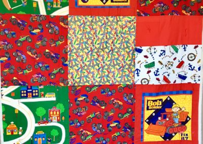 Bob the Builder – 61x79 – Pieced & Tied – Primary colors – Made by American Lutheran quilters – Windom, MN