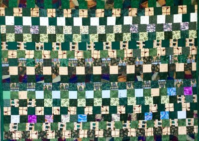 Minnesota Evergreen – 60x80 – Pieced & Tied – Green & Multi colored Squares w/green back - Made by American Lutheran Quilters – Windom, MN