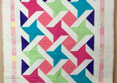 Stunning Stars - 40x48 - Pieced & Machine Quilted - White, pink, purple, turquoise, light green - Made by Shetek Grateful Quilters