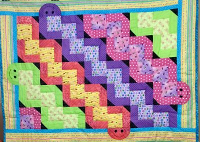 Wiggles & Giggles - 52x40 - Machine quilted - Assortment of Brights - Made by Jean Larson - Garvin, MN