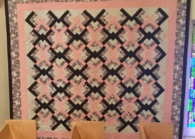 Pieced and Machine quilted- pink, black floral border – Made by Peggy Ludeman – Tracy, MN