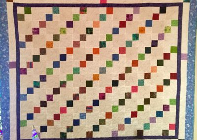 Friendships –100x88- Pieced & Machine Quilted – Multi colors w/white – Made by Sharon Kosse, Eileen Stanek, & Connie Anderson – Do day Ladies Tracy Lutheran – Tracy, MN