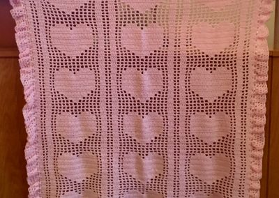 Hearts & Ribbons – 40x35 – crochet – Pink – Made by Marlys Buddenhagen – Tracy,MN