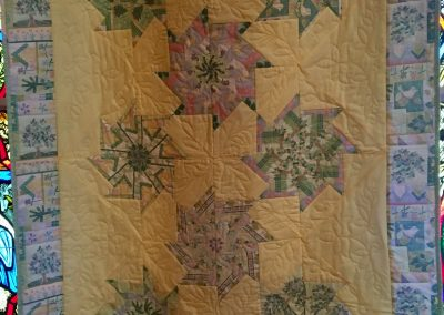 Garden Party Stack & Wack – 42x54 – Pieced & Machine Quilted, Yellow & Mint Green – Made by Tracy Lutheran Quilters