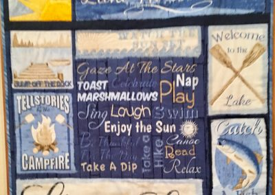 Lake Rules – 32 ½ x30 – Pieced & Machine Quilted – Wall Hanging – Made by Peggy Ludeman – Tracy, MN