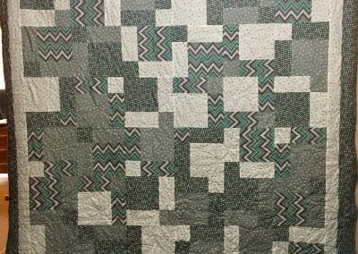 Grey Cuddles - 82x84 - Machine quilted - grey & turquoise - Made by Renae Stassen - Marshall, MN