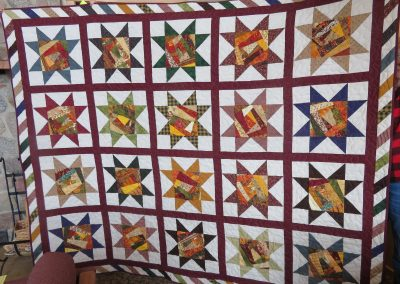 Crazy Stars – 92x75 – Pieced & Machine Quilted – Rich Assorted colors, Crazy Patch Center of Star – Made by Diane, Linda, Holly & Pat – Sioux Falls, SD