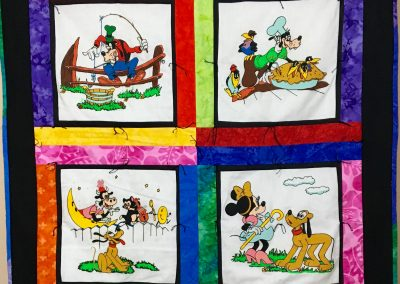 Walt Disney – 40x40 - Pieced & Tied – Hand painted, Bright vivid primary colors – Made by Messiah Lutheran – Flandreau, SD