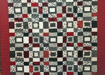Checker board Challenge – 77x68 – Pieced & Tied – Black, White & red – Made by Messiah Lutheran – Flandreau, SD