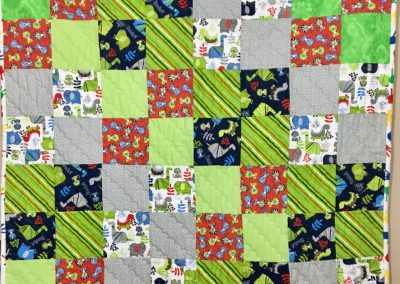 Critters – 38x43 – Machine quilted – Lime green, grey, blue & red – Made by Bethany Lutheran Quilters – Storden, MN