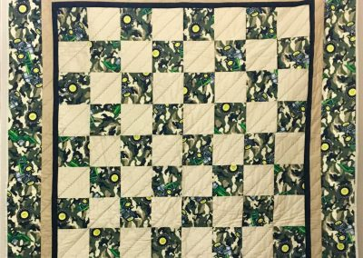 Camo Deere – 60x60 – Machine Quilted – Tan, Green & Black – Made by Bethany Lutheran Quilters – Storden, MN