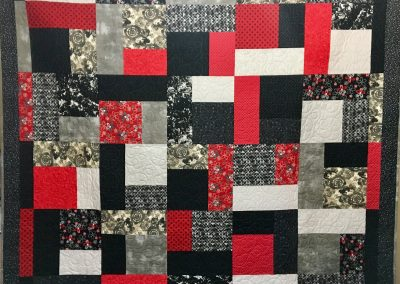 Turning Twenty In Red Black & White – 92x76 – Machine Quilted – Red, Black & Grey – Made by Bethany Lutheran Quilters – Storden, MN
