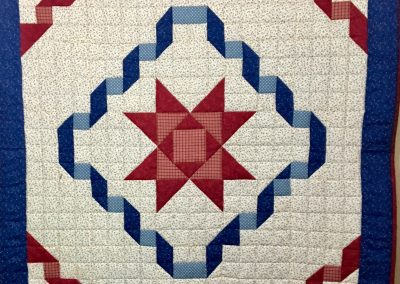 Big Red Star – 46x46 – Machine quilted – Red, White & Blue – Made by Ruth Koehler – Slayton, MN