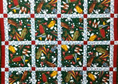 A Round of Golf – pieced & Machine Quilted – Red, Green & Blue – Made by Ruth Koehler – Slayton, MN