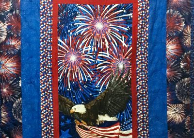 Fireworks – 60x80 – Pieced & Tied – Red, White & Blue – Made by Nancy Finzen – First Lutheran – Pipestone, MN